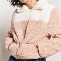 Colorblock Faux Shearling Jacket