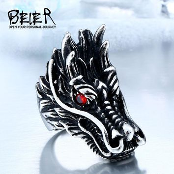 Cool Big Head Stainless Steel Personality Huge Dragon Animal Ring BR8-060