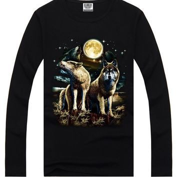 Black Hipster 3D Two Wolves Print Long Sleeve T-Shirt