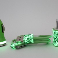 iPhone Car Charger & Wall Adapter in Green Damask Print Glow