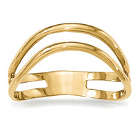 14K Gold Polished Double Wave Fashion Thumb Ring K5789