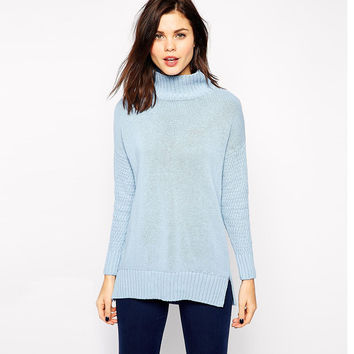 Blue High Neck Long Sleeves Knitted Sweater With Side Slit