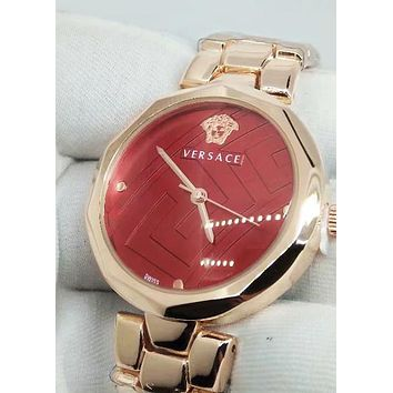 Versace 2019 new women's simple and stylish waterproof bracelet watch Red dial