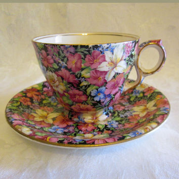 "Rare Royal Winton ""Florence"" Pattern Chintz Tea Cup & Saucer #472 English Pottery"