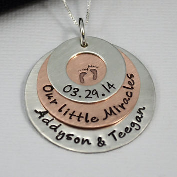 Hand-Stamped Personalized New Mom of Twins Necklace