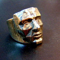 Stunning human face silver ring-Sterling silver head ring- Polygon face ring-Unusual silver men's ring-Men statement ring-Artisan jewelry