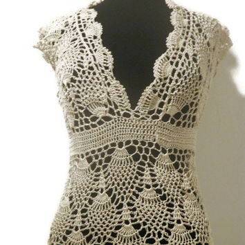 Lace crochet pineapple top, summer crochet blouse