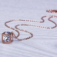 Cube Necklace, Rhinestone Necklace, Rose Gold Necklace, Bridesmaid Necklace, Dainty Pendant, Crystal Cube, Geometric Jewelry | 0219NM