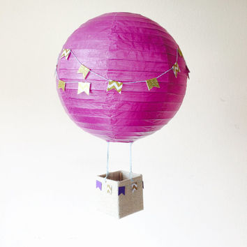 Hot Air Balloon Hanging Decoration, purple, violet nursery decoration, birthday, baby shower, wedding decorations