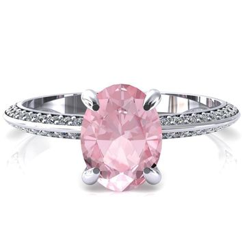 Nancy Oval Pink Sapphire 4 Prong 1/2 Eternity Diamond Knife Shank Accent Engagement Ring