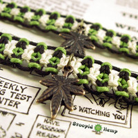 Glow in the Dark Hemp Friendship Bracelets - Marijuana Leaf 420 Cannabis Hemp Roach Clip Bracelets - Stoner Hemp Jewelry Pot Leaf Roach Clip