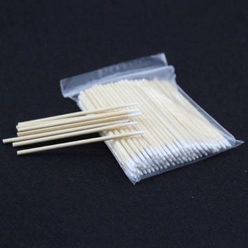100pcs Wood Cotton Swab Cosmetics Permanent Makeup Health Medical Ear Jewelry Clean Sticks Buds Tip 10cm cotonete