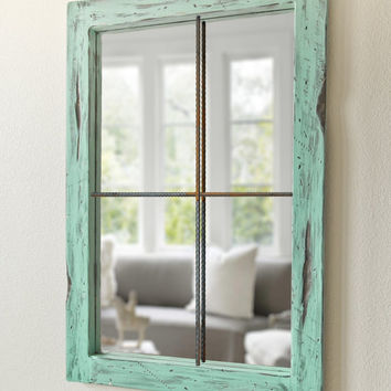 Rustic Mirror Distressed Faux Window - Vintage Green