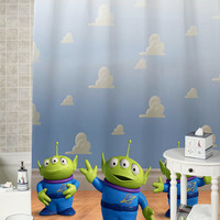 Toy Story 3 alien special shower curtains that will make your bathroom adorable.