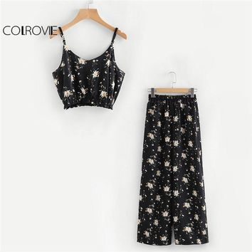 COLROVIE Calico Flora Print Crop Cami Top With Wide Leg Pants 2018 Women Casual V neck Straps Sleeveless Boho Twopiece Set