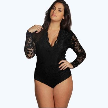 Bodysuits Women Fashion Sexy V Neck Long Sleeve Lace Patchwork Bodysuit Black Scallop Romper Skinny Jumpsuit Plus Size 6XL