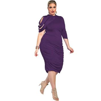 Pure Color Half Sleeves Scoop Irregular Knee-length Dress with Plus Size