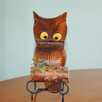 Mid Century Carved Owl Wall Hanging, Carved Wood Owl, Kitschy Owl, Fun Retro Owl Decor