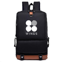 New Bts Bangtan boys wings style canvas Fashion Schoolbag Backpack leisure bag