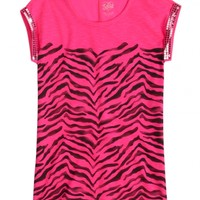 Sequin Sleeve Animal Print Tee