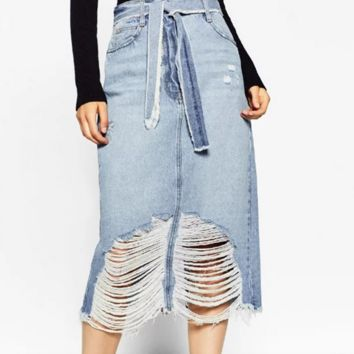 New fashion Knot hole skirts female high waist jeans dress