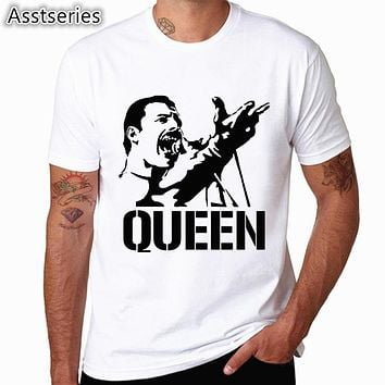 Freddie Mercury The Queen Band T-Shirt Mens Hip Hop Rock Hipster T Shirt Casual Tshirts harajuku Top Tees HCP4535