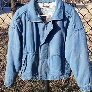 Vtg Members Only Horizon Express Distressed BLue Bomber Jacket  Dope 80s  sale winter Coat size Med