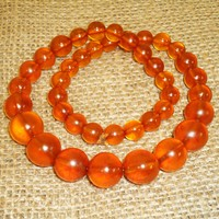 36gr! Genuine Baltic Egg Yolk Amber Round Beads Necklace made in Kaliningrad. 95
