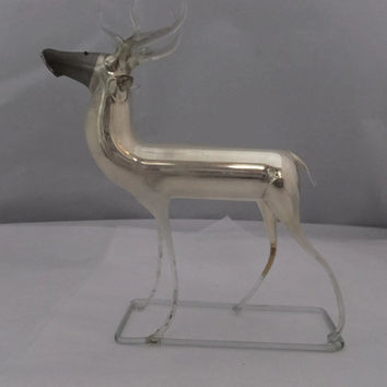 Vintage Mercury Glass Reindeer - German 1930s Blown Glass - Holiday Collectible
