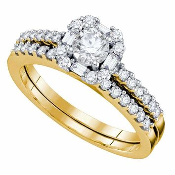 14kt Yellow Gold Women's Round Diamond Slender Halo Bridal Wedding Engagement Ring Band Set 3-4 Cttw - FREE Shipping (US/CAN)