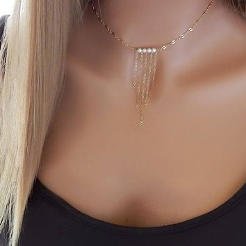 Jewelry Shiny Gift New Arrival Stylish Pearls Tassels Chain Necklace [510308220982]