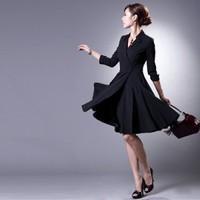LBD black suit collar wrap 3/4 slv coat flare dress M