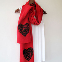 Valentines Day Gift, Red Hearts Scarf, Scarf, Scarves, Women Accessories, Valentine's Day