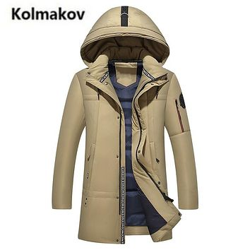 KOLMAKOV 2017 new winter high quality men's hooded warm down jacket parkas,90% white duck down coats windbreaker men,size M-4XL.