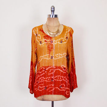 Red & Orange Tie-Dye Print India Shirt India Tunic India Blouse India Top Bell Mirror Embroider Metallic Thread Gauze 70s Hippie Boho S M