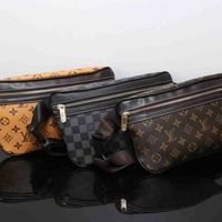 """Louis Vutitton"" Men Casual Fashion Tartan Logo Print Waist Bag Single Shoulder Messenger Bag"