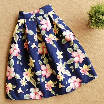 2017 Summer Flared Skort Floral Saia Plissada Flower Prints Skirts Womens Mid-Calf High Waisted Skirt White Black Pink Color