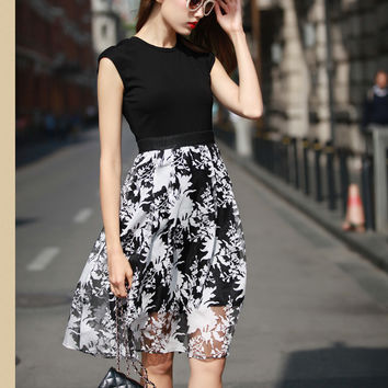 Black Sleeveless Printed Sheath A-line Pleated Midi Dress