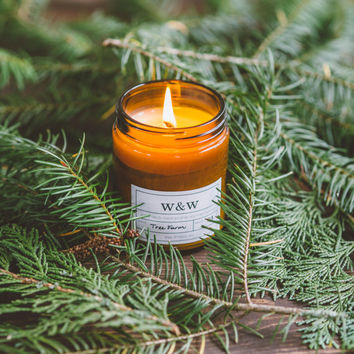 Tree Farm - 9oz Pure Soy Wax Candle in Amber Jar with Lid