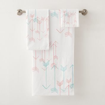 Rustic Arrows Aqua Coral White Towel Set