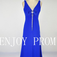 A-line V-neck  Chiffon floor-Length Bridesmaid/Evening/Prom Dress