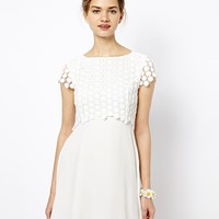 French Connection Sparkle Dress with Sunflower Layer - Winter white