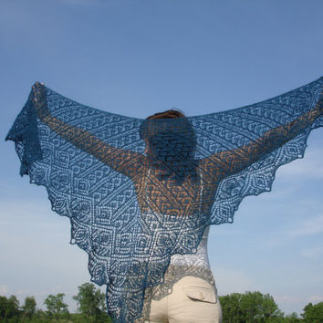 Knitted lace shawl blue triangle by Mriya on Etsy
