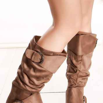 Buckle Slouch Boots
