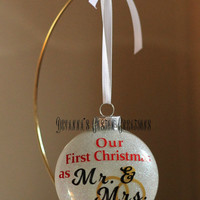Personalized Our First Christmas As Mr. & Mrs. Christmas Ornament