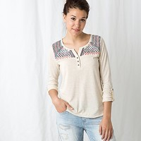 Freshwear Embroidered Henley Top