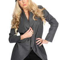 Charcoal Draped Open Front Outerwear