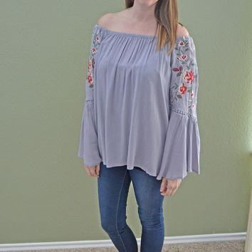 Chilled Out Embroidered Off Shoulder Top