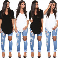 2015 Women short sleeve v neck Irregular t shirt dress woman tops = 1956701956