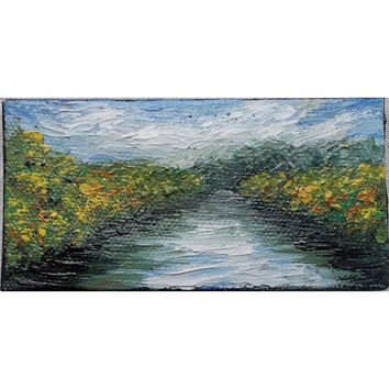 "Mini Oil Painting of River and Tree Landscape 2"" x 4"" READY to SHIP"
